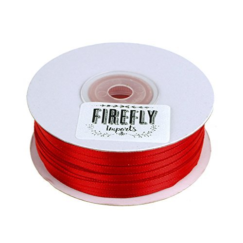 Homeford FCR00PSD01181250 Double Faced Satin Ribbon, 1/8-Inch, Red