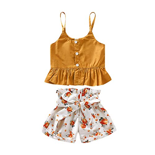 Toddler Kids Baby Girl Floral Halter Ruffled Outfits Clothes Tops + Shorts (Yellow, 18-24 M (100)) ()
