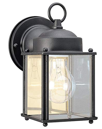 Westinghouse One-Light Exterior Wall Lantern, Textured Black Finish on Steel with Clear Glass Panels (Antique Black)