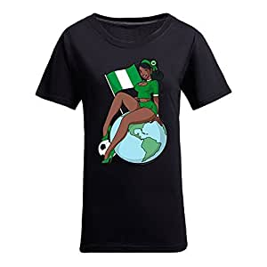 Custom Womens Cotton Short Sleeve Round Neck T-shirt with Soccer Girls,2014 Brazil FIFA World Cup