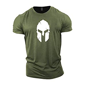 GYMTIER Mens T-Shirt de Musculation – Spartan Helmet – vêtements d'entraînement de Gym