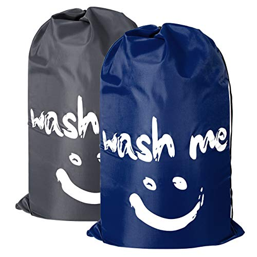 2 Pack Extra Large Travel Laundry Bag Set Nylon Rip-stop Dirty Storage Bag Machine Washable Drawstring Closure College Essentials Storage 24 x 36 inches (Dark Blue and Gray)