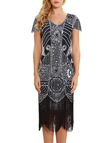 (Women's 1920s Dress - Sequin Art Deco Flapper Dress with Sleeve (Black Silver,)