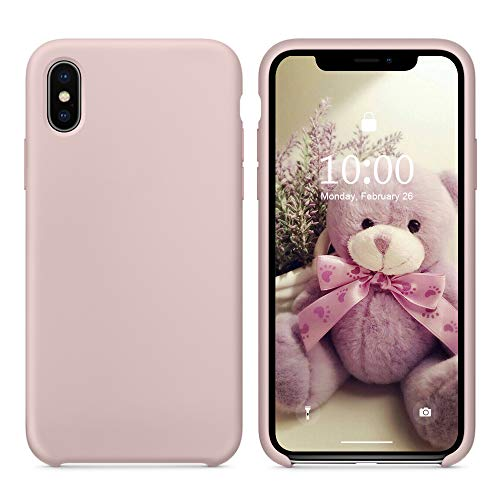 SURPHY Silicone Case for iPhone Xs iPhone X Case, Slim Liquid Silicone Soft Rubber Protective Phone Case Cover (with Soft Microfiber Lining) Compatible with iPhone X iPhone Xs 5.8, Pink Sand