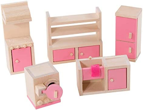 Eliiti Wooden Doll Furniture Dollhouse Kitchen Doll Decoration Accessories Pretend Play Kids Toy for Girls 3 to 7 Years Old 5Pcs