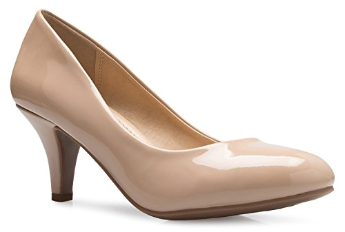 OLIVIA K Women's Comfort Classic Round Toe Kitten Low Mid Heel Dress Pumps