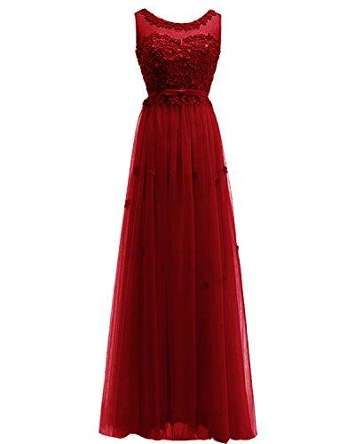 Women's ASBridal Dress Gown Burgundy Prom Flowers Dress Handmade Long Tulle Bridesmaid Evening rrSqfd