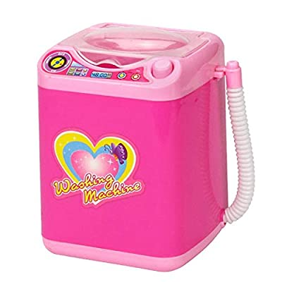 Simulation Children Play House Pretend Toys Electric Cute Cosmetics Puff Washing Machine Cleaner Washing Machine Tools: Beauty