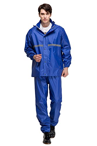 incoat Outdoor Hooded Rain Jacket Pant and Jacket Set Adults (Extra Large, Blue) ()