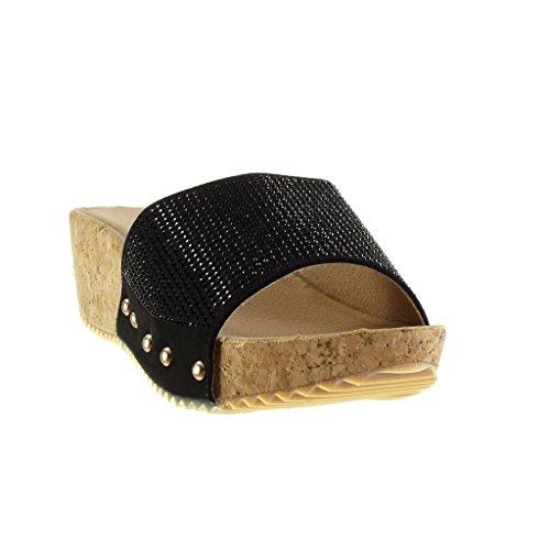 Angkorly - Scarpe da Moda Mules sandali zeppe donna strass borchiati sughero Tacco zeppa piattaforma 5 CM - Nero