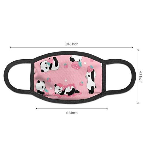 NiYoung Mouth Mask Strawberry Panda Printing Earloop Face Masks - Adjustable Elastic Strap for Ski Cycling, Anti Smog Dustproof Respirator, Half Face Mouth Mask/Cover