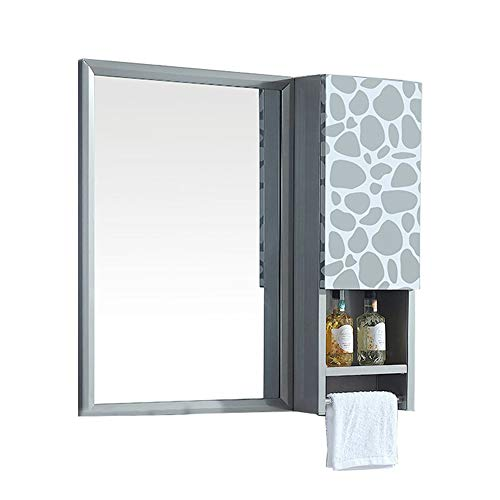 Embossing Silver Pebbles - l lei shop Wall Mirror Square, Waterproof, Bathroom Wall Mirror, Simple Fashion Makeup Mirror, with Shelf, 20in27in