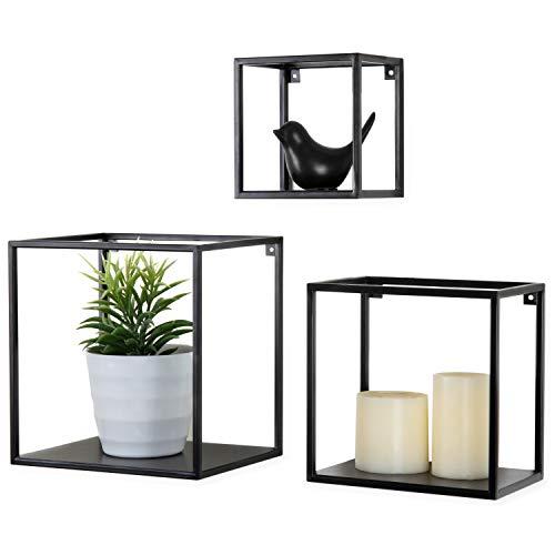 - MyGift Black Metal Cube-Frame Wall Hanging Shelves, Set of 3
