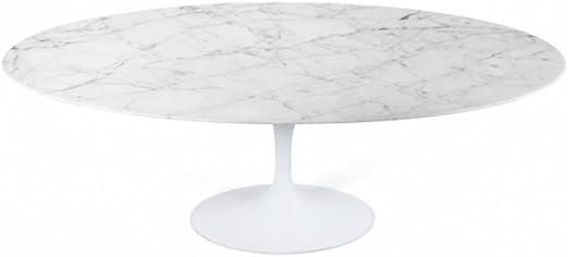 Eero Saarinen Mesa de comedor de estilo Tulip Oval mármol: Amazon ...
