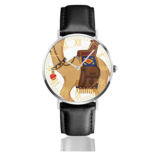 Mens Watch Cute Cartoon Camel Fabulous Business Stainless Steel Quartz Wrist Watches with Replaceable Leather Band