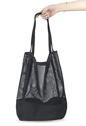Mesh Beach Canvas Tote Womens Shoulder Handbag -