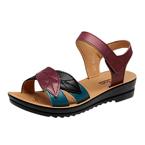 LOVOZO 2019 New Women Ladie's Fashion Mixed Colors Leather Sandals Wedges Comfort Big Size Shoes Red (Best Bow Sights 2019)