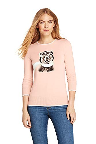 (Lands' End Women's Tall 3/4 Sleeve Supima Cotton Sweater, M, Tea Rose Amelia)