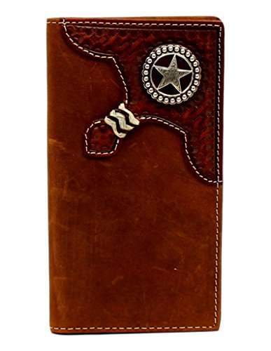 Nocona Round Boots - Nocona Men's Rodeo Basketweave Embossed Round Star Concho Wallet, Aged Bark, OS