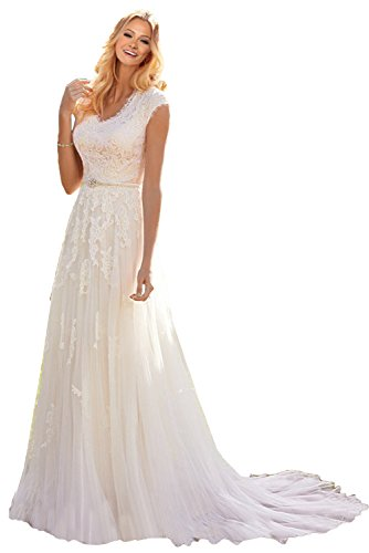 MILANO BRIDE Grace Princess V-Neck Floral Lace Wedding Dress for Bride Cheap-14-Light ()