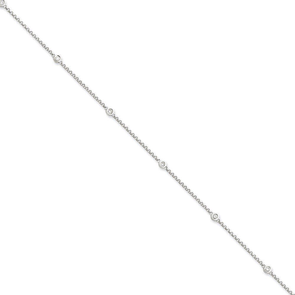 Top 10 Jewelry Gift 14k White Gold Diamond Rolo Anklet
