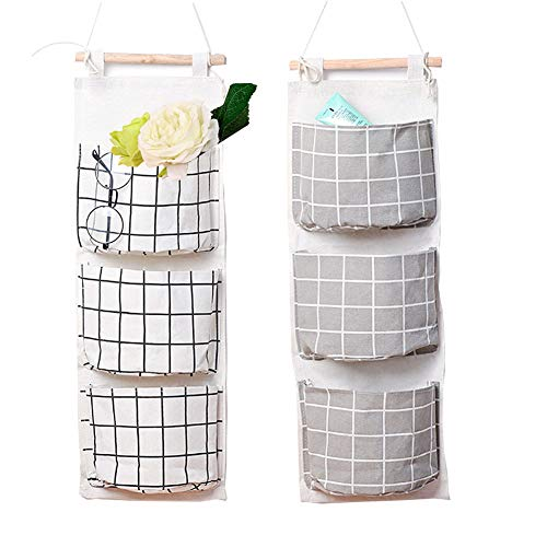HomRing Hanging Storage Bag, Wall Mounted 3 Bags Nursery Storage Bag Over The Door Storage Pockets Fabric Wall Door Closet Hanging Storage Bag Organizer 2 Packs