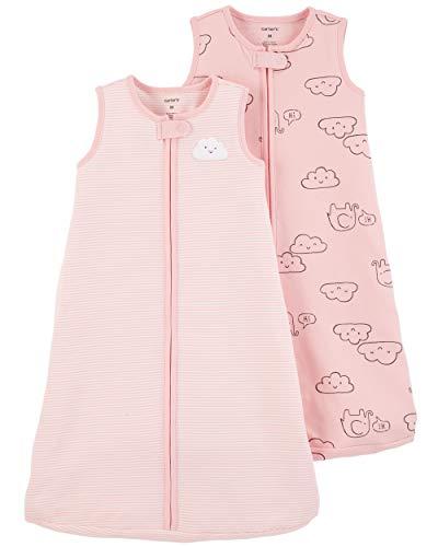 (Carter's Baby Girls 2-Pack Cotton Sleepbag, Pink Cloud/Stripe, Medium )