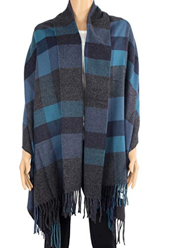 Scotland Wool - 2 PLY 100% Cashmere Scarf BLANKET Collection Made in Scotland Wool Solid Plaid (Blue Grey Window Plaid 9-12)
