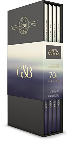 Green & Black's 70% Cacao Dark Chocolate Bars, 4 Count