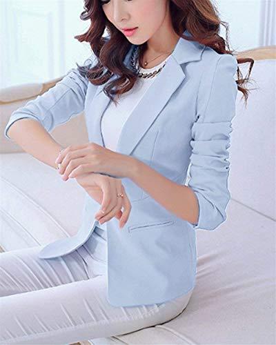 Giacche Puro Autunno Lunga Blazer Himmel Donna Ufficio Fit Eleganti Colore Blau Giacca Da Slim Tailleur Manica Cappotto Primaverile Tasche Moda Con Button Business qXEgXz