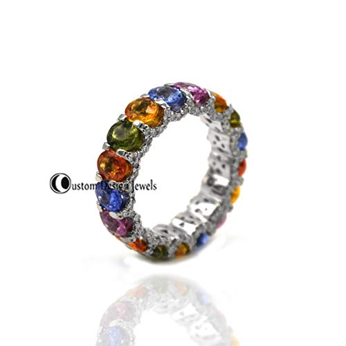 Multi Sapphire Ring, Band Ring, 925 Silver Multi Gemstone Ring, Diamond Eternity Ring, Fine Ring Jewelry, Diamond Round ring, Delicate Ring