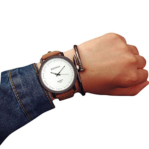 Couples Watch,Luxury Steel Case Wristwatch Leather Student Bracelet Clock Axchongery (White)