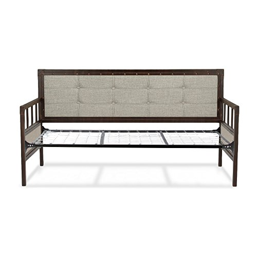 Fashion Bed Group Gotham Twin Metal Daybed with Latte Finished Button-Tufted Upholstery and Link Spring in Brushed Copper