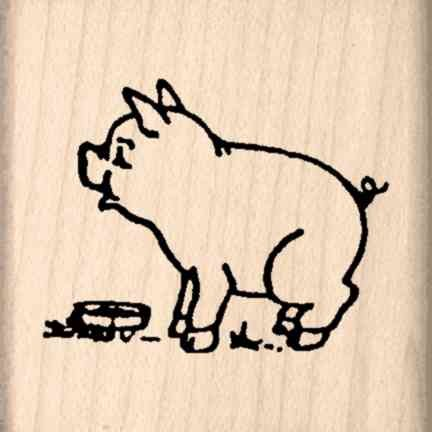 Pig Rubber Stamp - 1-1/2 inches x 1-1/2 inches