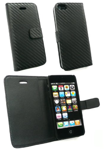 Emartbuy ® Apple Iphone 5 Prime Pu Wallet Leather Case / Cover / Etui En Fibre De Carbone Effet In Noir