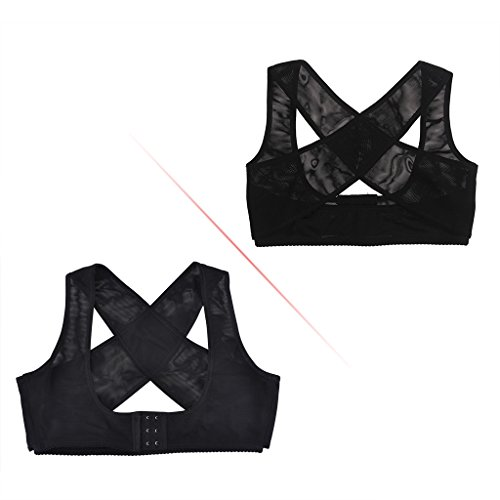 Lifemall Women Chest Brace Up Hunchback Posture Shape Corrector X Strap Vest (M, Black)