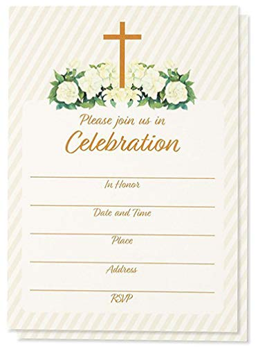 Best deals on christian birthday invitations products 60 pack religious invitations christian invitation cards ideal for funeral baptism easter party church events v flap envelopes included filmwisefo