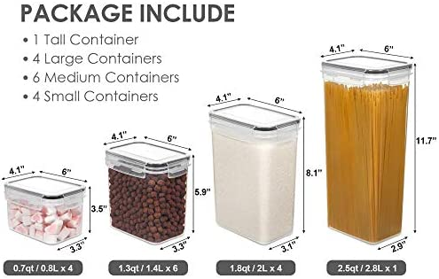 41b%2B3%2BGXJ7L. AC Vtopmart Airtight Food Storage Containers Set with Lids, 15pcs BPA Free Plastic Dry Food Canisters for Kitchen Pantry Organization and Storage, Dishwasher safe,Include 24 Labels, Black    Why Choose Vtopmart Food Storage Containers?Help Organize Your Kitchen and Pantry----Imagine every time walking to your kitchen or pantry, found everything is neatly organized. No longer messy, you can get everything you want very quickly. With the stackable and space-saving design, these containers will make more efficient use of every inch of your kitchen pantry cabinets.4 Size Combinations Fit Your Needs----Our kitchen storage containers set comes in 4 different sizes. Includes 1 Tall Container (2.5quart/2.8 liters), 4 Large Containers (1.8quart/2.0 liters), 6 Medium Containers (1.3quart/1.4 liters), 4 Small Containers (0.7quart/0.8 liters). Perfect for storing spaghetti, baking supplies, cereal, flour, sugar, oats, pasta, rice, coffee, tea, snacks, nuts and other dry goods.Airtight Containers Keep Food Fresh----The side-locking lids with silicone gasket make these storage containers airtight, and the top flips open easily. Airtight storage system will always keep your food dry and fresh. All have the same lids make it easy to wash dry and reuse with ease.BPA Free and Food Grade Material----Vtopmart pantry storage containers are made of durable plastic, BPA free, which have a longer life than many other brands plastic containers. Clear containers make it convenient to see what's inside, you can easily get what you want without opening every container.24 Reusable Labels ----Except 15pcs dry food storage containers, you will also receive 24pcs labels. They are reusable, you can switch contents whenever you need. Just wipe clean with a damp cloth to change what you have written, Peel and Re-stick.