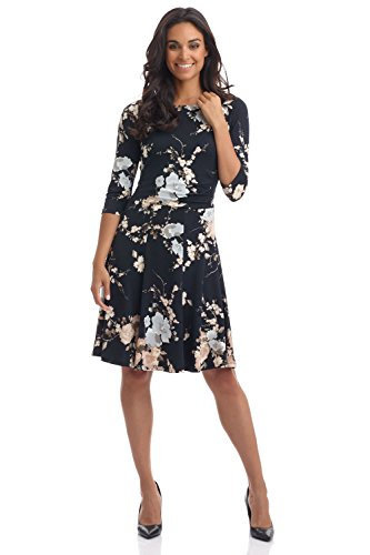 3 4 sleeve fit and flare dress - 6