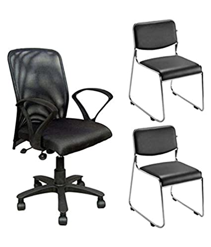 Nice Goods One Mesh Back Office Chair With Two Visitor Chairs