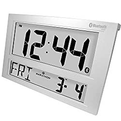 Marathon CL800003 Jumbo Bluetooth Wall Clock. Syncs with Free Clock App. Color- Matte Silver Finish.