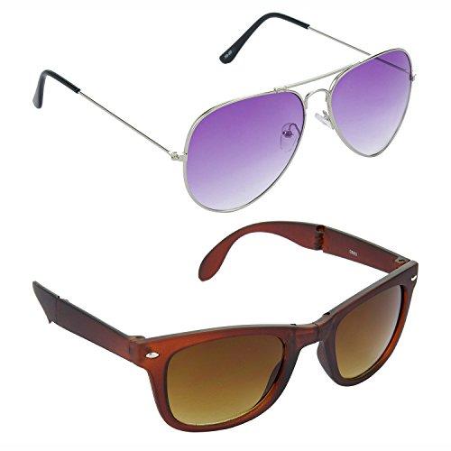 a731e663baaf HRINKAR Aviator Purple Lens Silver Frame Sunglasses Wayfarers Brown Lens  Brown Frame Sunglasses – HCMB178