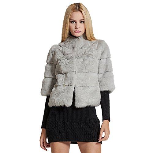 (Fur Story Women's Real Rabbit Fur Coat Solid Color Winter Warm Fur Jacket Half Sleeves US4 (Gray)