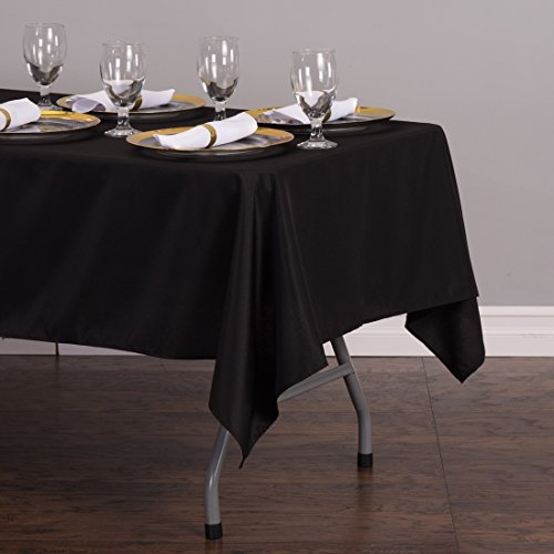 LinenTablecloth 60 x 102-Inch Rectangular Polyester Tablecloth Black by LinenTablecloth (Image #2)
