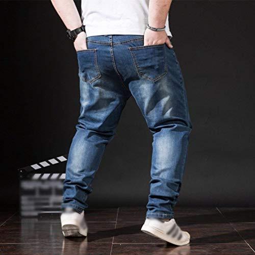 Vintage Invierno Fit Mezclilla Battercake De Otoño Cómodo Slim Los Blau Moda Ocio Hombres Cómodos Vaqueros Pantalones BBq6n7Tz