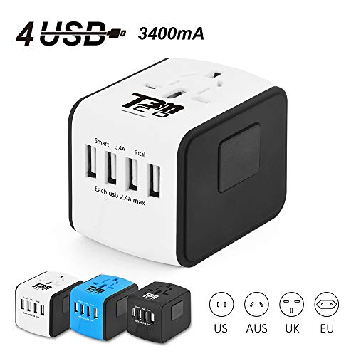 T3MCO Travel Adapter. International Travel Adapter, 3 USB Ports + Type-C/4 USB Ports, UK, EU, AUS, USA, Universal Travel Adapter, Multi Use USB Travel Adapter (4 USB, WHITE) by T3MCO
