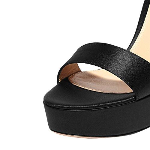 Fsj Kvinnor Mode Chunky Höga Klackar Ankelbandet Sandaler Plattform Öppen Tå Skor Storlek 4-15 Oss Svart