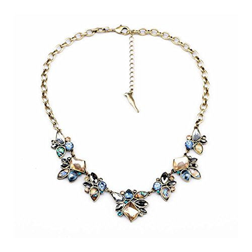 efigo Fashion Statement Necklace Choker Collar Bib Necklace Vintage Boho Costume Jewelry for Women Girls (Blue&Brown)