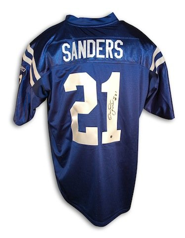 Reebok Autographed Authentic Jersey Blue (Autographed Bob Sanders Indianapolis Colts Blue Reebok Authentic Jersey)