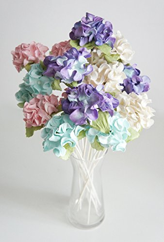 Plawanature Set of 12 Hydrangea Mixed Color Mulberry Paper Flower with Reed Diffuser for Home Fragrance Aroma Oil.